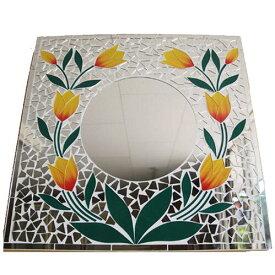 アジアン壁掛けモザイクミラー●50×50cm●スクエアフラワー(イエロー)【メール便不可】エスニックな雰囲気のモザイクミラー!鮮やかなお花模様が可愛い正方形の鏡。