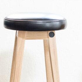 [b2cシンプルラウンドスツールロー(オイルドレザーブラック)]スツール北欧おしゃれ木製木製スツール省スペースシンプルナチュラル