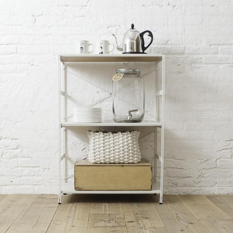 ラック プリンターラック デスクワゴン 木製 ホワイト レンジ台 キッチン収納 [nspラック/ハイ PVCタイプ(標準セット/棚板3枚)]