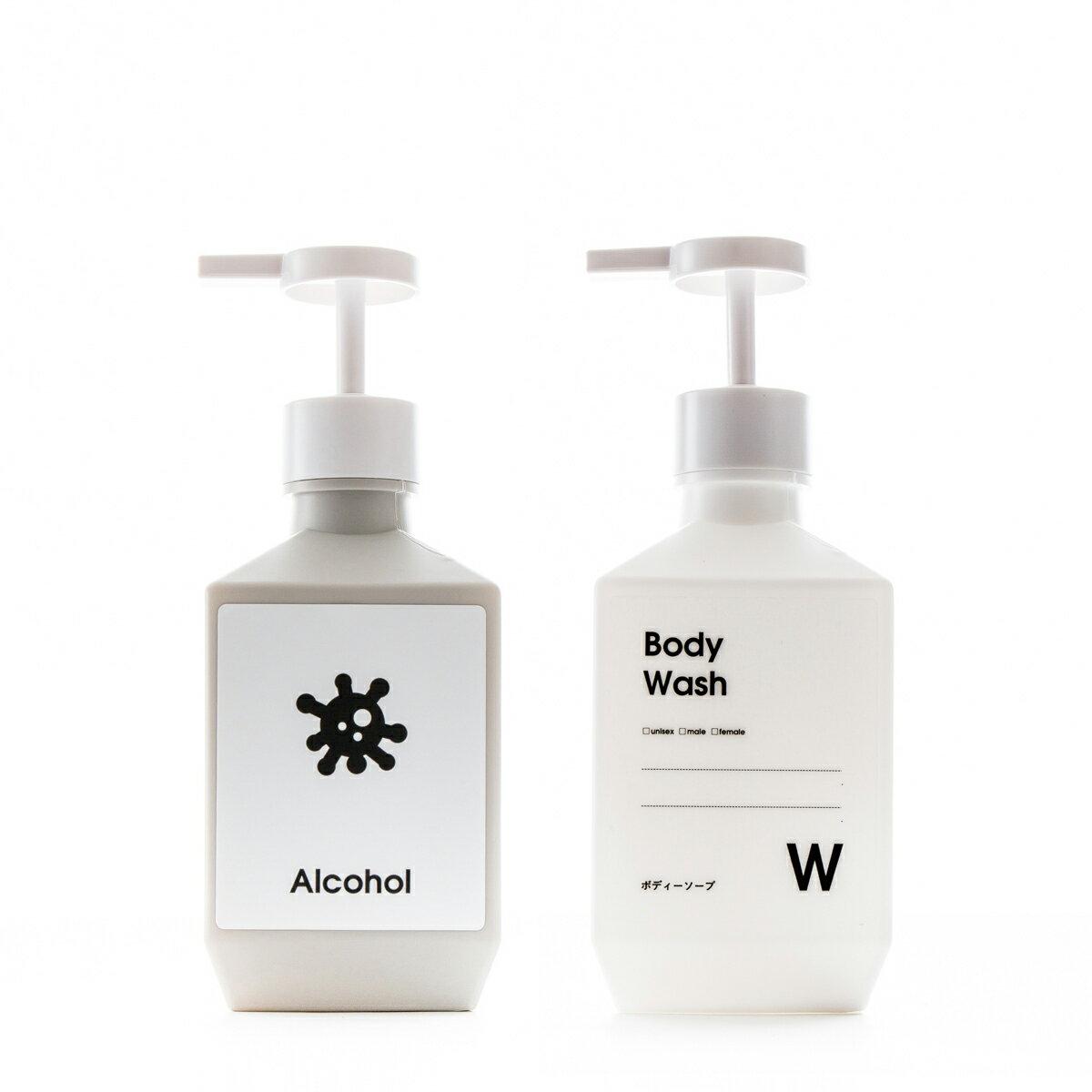シンプルで多目的に使える詰め替えボトルのポンプタイプ、ソープディスペンサーやシャンプーボトルやキッチン洗剤容器に[ローションボトル PET 400ml]