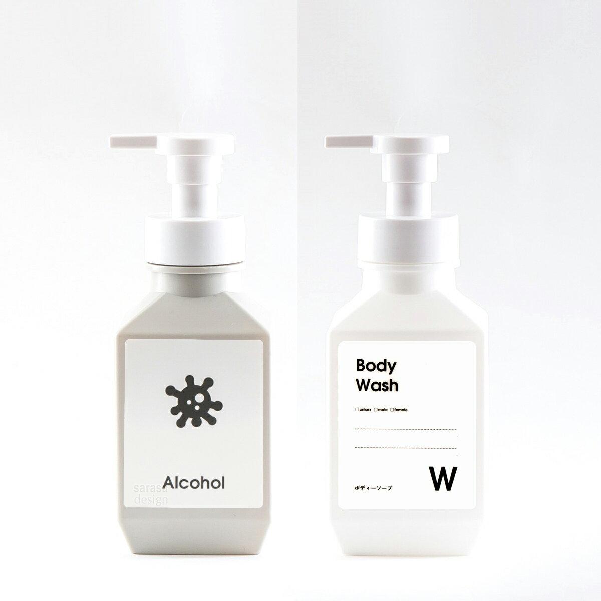 シンプルで多目的に使える詰め替えボトルのポンプタイプ、ソープディスペンサーやシャンプーボトルやキッチン洗剤容器に[ムースボトル PET 400ml]