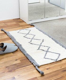 玄関マット室内屋内洗える[b2cチェックコーナーマット|オーガニックコットン]