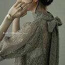 インナー付きバックリボンレースドレス ドレス ワンピース ワンピ オケージョン オケワンピ レース 五分袖 結婚式 二…