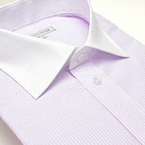 【おしゃれクレリック長袖ワイドカラー】 パープルストライプ ワイシャツ ワイドカラー 長袖ワイシャツ メンズ 長袖 Yシャツ 【即日出荷】