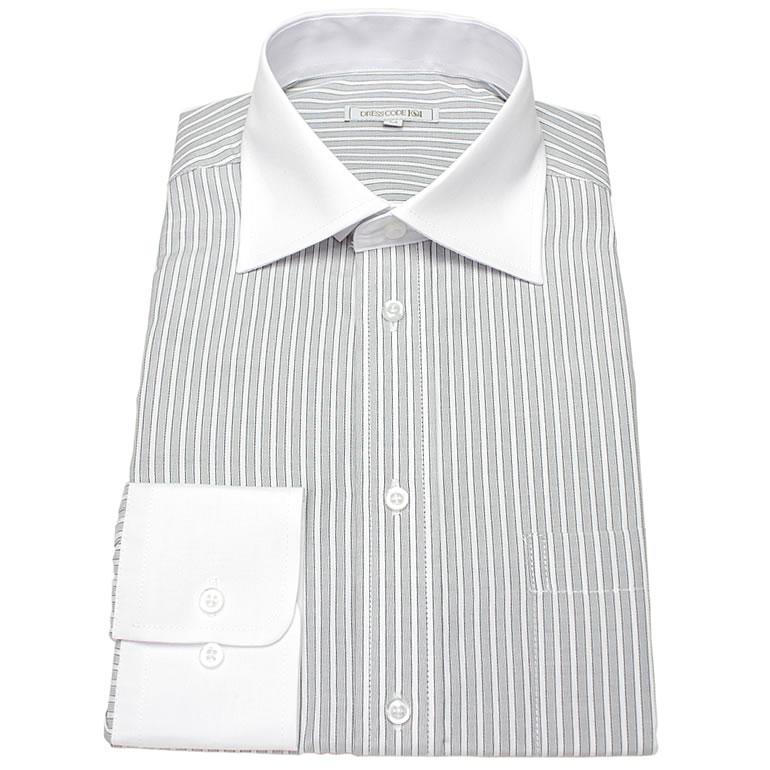 お洒落なクレリックシャツ!長袖ワイドカラー ライトグレーストライプ ワイシャツ ワイドカラー 長袖ワイシャツ メンズ 長袖 Yシャツ