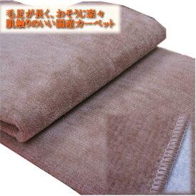ブラウン色/江戸間6畳(261x352cm)ペットにやさしいカットパイルの国産カーペット「オリオン」/裏貼/抗菌基布使用