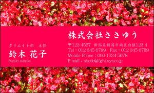 【オリジナル名刺印刷】フラワー名刺[F_028_t]《カラー名刺片面100枚入ケース付》テンプレートを選んで簡単名刺作成女性らしさとやさしさが伝わる女子に人気の花柄名刺です【赤い花・ベ