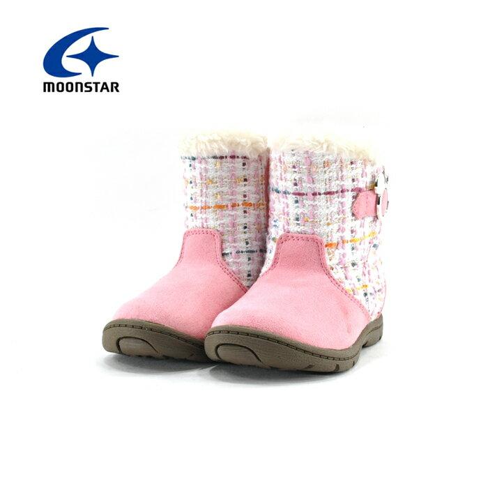 ムーンスターMOONSTARディズニー ミッキースノーブーツ ウィンター サイドゴア ボア付き 防寒 通園・通学 ツイード調(ピンク) DNC1222 ブーツ キッズ 子供 女の子 シューズ 靴