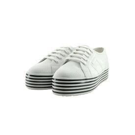 スペルガ SUPERGA2790 MULTICOLOR COT W プラットフォーム 厚底 キャンバス ローカット カジュアル ホワイトブラック ホワイトストリップス 白 シロ 12(WHITE-BLACK WHITE STRIPES) S00FCR0 スニーカー レディース シューズ 靴