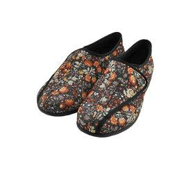 アサヒ ASAHI快歩主義 L011 介護 軽量 抗菌 防臭 日本製 マジックテープ 面ファスナー ベルクロ 3E 丸洗い 花柄 黒 クロ(ブラックハナガラ) KHSL011 スニーカー レディース シューズ 靴
