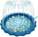 在庫処分 噴水マット 噴水プール スプラッシュパッド パドリングプール170CM直径 ビニールプール おもちゃプレイマッ…