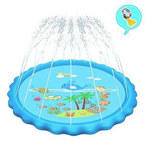 噴水マット 大きいサイズ直径170cm お子様ようの噴水マット 海洋世界の動物のパターン 超柔らかい PVC ビニール材料 親子ゲームのマット 屋外の庭 芝生 浜辺 夏のギフトの贅沢なパッケージ