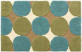 サークルパターン マット【サイズ:約50cm×80cm】SEKマーク(抗菌防臭)・滑り止め加工水洗い・丸洗いOK カービング加工