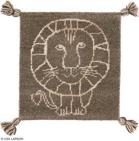 リサ・ラーソン ライオン ギャベ マット【サイズ:約38cm×38cm】インド製デザイナーズブランド 【LISA LARSON】ウール100% 手織り ギャベ織物 チェアパッド