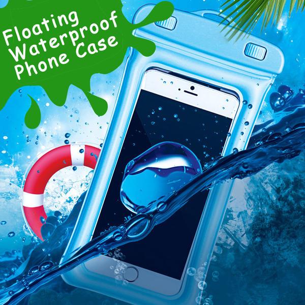 アルミ合金ホイッスル付【IPx8取得】 6インチまで対応 (5色) フローティング防水ケース iPhoneX/8/7/6/Plus android 水中撮影 海水浴 潜水 お風呂 水泳 携帯防水ケース
