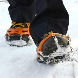 【専用ケース付】Mサイズ 簡単装着! 軽量アイスグリッパー スノースパイク 8個の金属製爪で路面を確実に! グリップのスタッドが、地面をしっかりグリップ【雪/凍結/簡易式/アイゼン/滑り止め/スパイク】