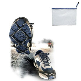 【専用ケース付】簡単装着! スプリングアイゼン 軽量アイスグリッパー 靴底スパイク スノーシュー 靴底用 靴速カバー 装着式 トレッキング リング型 フリーサイズ 雪 凍結 簡易式 アイゼン 滑り止め スパイク コイル