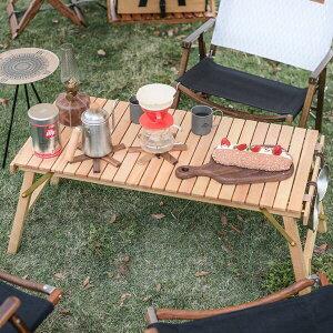 【NatureHike】簡単組立 木製 キャンプテーブル 耐荷重 40キロ フォールディング ウッドテーブル 折りたたみローテーブル ピクニックテーブル アウトドア ポータブル キャンピングテーブル 釣