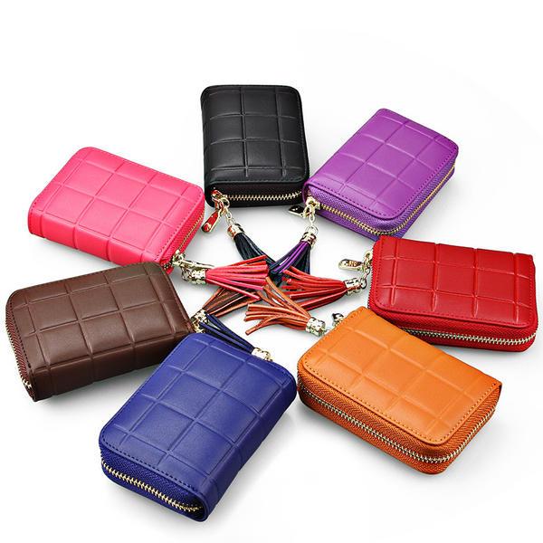 (7色)15ポケット 高級感漂う格子柄 本革 RFID スキミング防止 カード入れ カードケース じゃばら アコーディオン式 レディース レザー 財布 ポイントカード クレジットカード