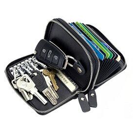 (9色)リレーアタック防止機能対応 万能オールインウォレット ダブルファスナー 本革 RFID 6連キーフック付10ポケットカードケース スキミング防止 カード入れ カードケース じゃばら アコーディオン式 スマートキー レザー 財布 ポイントカード クレジットカード 名刺