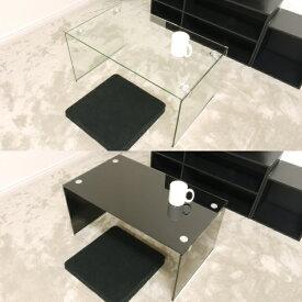 ガラステーブル 75cm幅 ローテーブル センターテーブル コーヒーテーブル カフェテーブル ガラス クリア クリアー テーブル 透明 ブラック 黒色 高級感 おしゃれ かわいい 送料無料 (北海道・沖縄・離島を除く) 激安