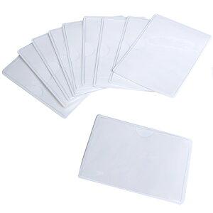 Good-L 名刺・カードサイズポケット横型(両面テープ付き)【60枚セット】 名札 名刺ホルダー 名刺 ポケット どこでも 個室 ロッカー 倉庫 番号札 整理 粘着剤 両面テープ