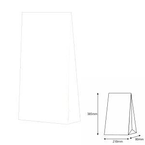 紙袋 角底袋 4才 白無地  100枚 幅210×マチ80×高さ385mm【ラッピングバック 柄入 マチ付紙袋 まち付紙袋】