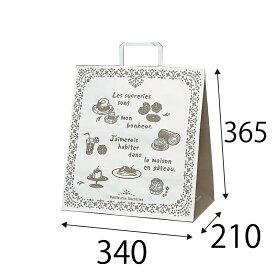 【ケース販売】ラッピーバッグ NO.7 カフェ 150枚 巾340×マチ210×高さ365mm【手提げ袋 手提げ紙袋 紙袋 手提げ マチ広 洋柄 洋風】