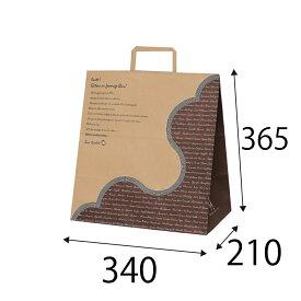 【ケース販売】ラッピーバッグ NO.7 フランス語(未晒) 150枚 巾340×マチ210×高さ365mm【手提げ袋 手提げ紙袋 紙袋 手提げ マチ広 洋柄 洋風】