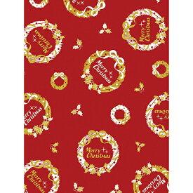 クリスマス包装紙 10枚ロール クラシックリース 半才判【ギフト ラッピング ラッピングペーパー】