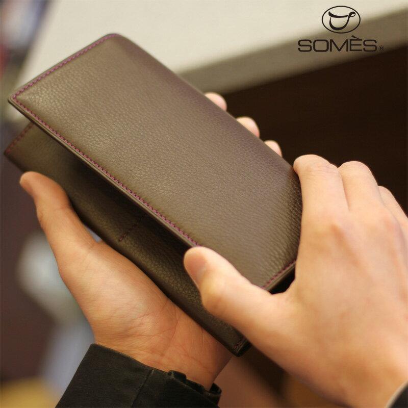 【レターパックプラス送料無料】ソメスサドル 本革長財布 フェル チョコレートブラウン