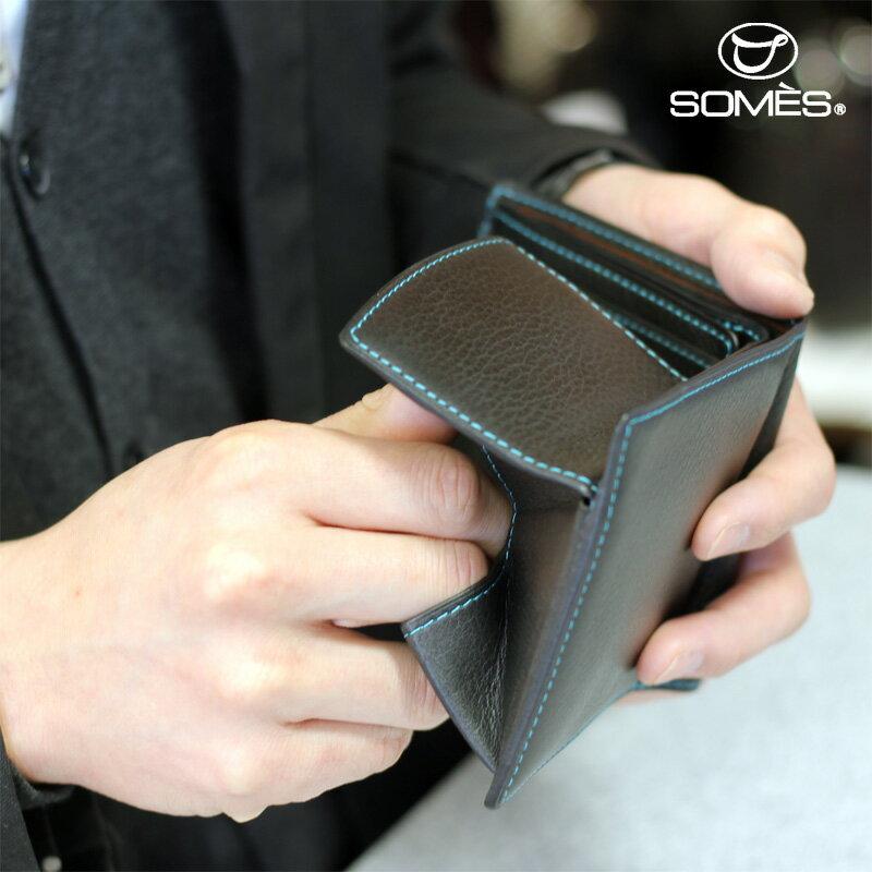 【レターパックプラス送料無料】ソメスサドル 本革二つ折り財布 フェル ブラック
