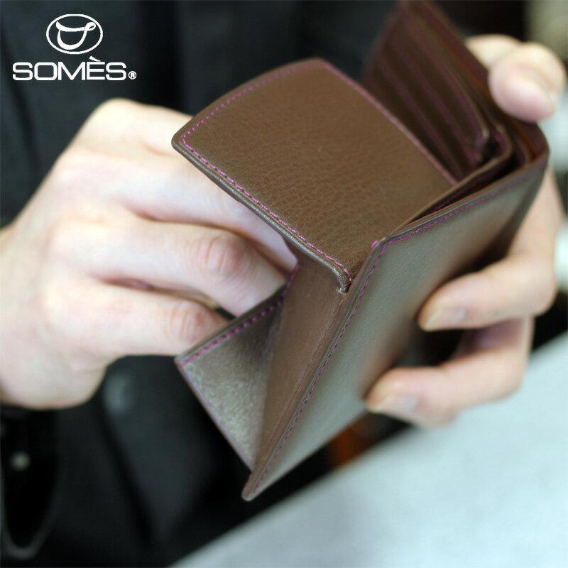 【レターパックプラス送料無料】ソメスサドル 本革二つ折り財布 フェル チョコレートブラウン