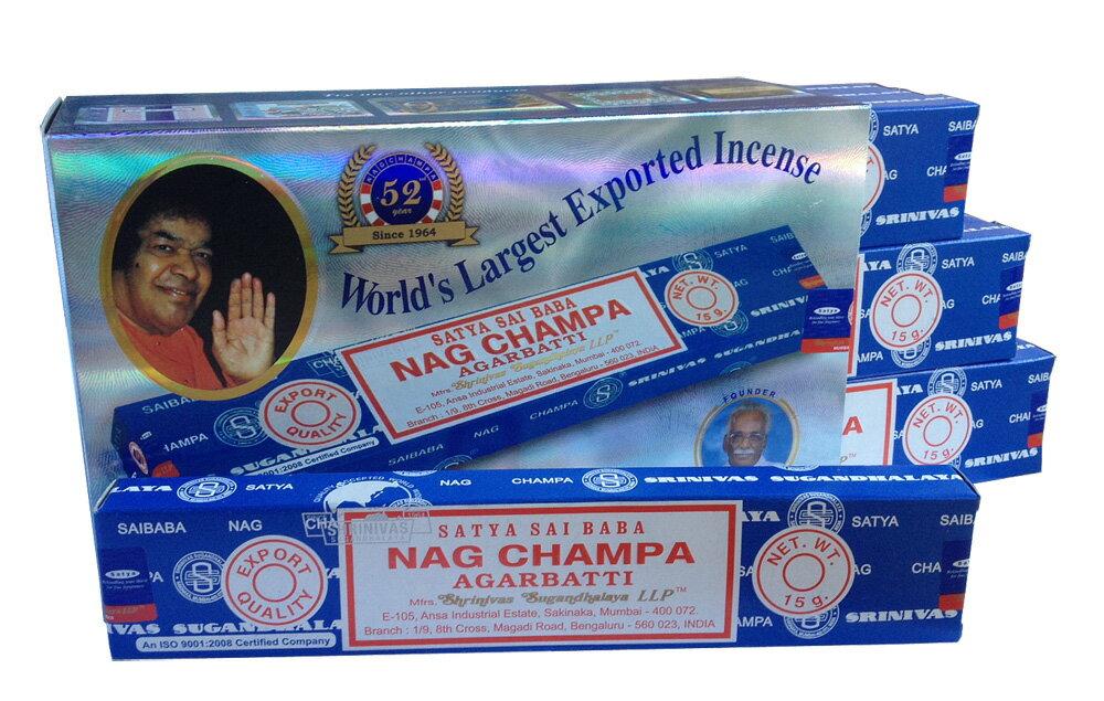 【お香】Satyaサイババナグチャンパ15g 12箱セット/Saibaba Nag Champa 15g/サイババ香12箱セット/インド香