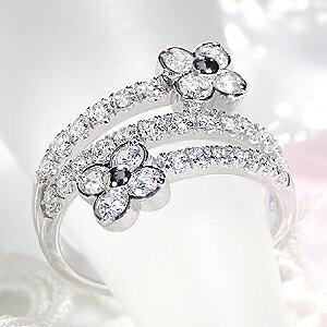 ファッション ジュエリー アクセサリー レディース 指輪 リング プラチナ ダイヤモンド リング ダイヤ リング 1ct 1カラット 花 フラワー パヴェ プレゼント ギフト 4月 豪華 刻印無料 代引手