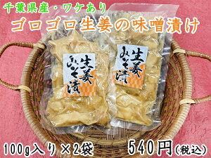 【ワケあり】【国産】ゴロゴロ生姜の味噌漬け100g×2袋 漬物 味噌漬 生姜 製造元直送