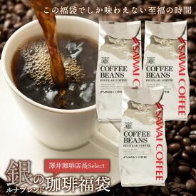 コーヒー コーヒー豆 珈琲 珈琲豆 お試し コーヒー粉 粉 豆 銀の珈琲150杯分福袋 ルナブレンド