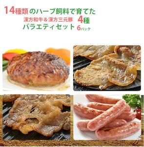 国産 漢方和牛・漢方三元豚 バラエティーセット(全4品)【ハンバーグ】【ウインナー】【タレ漬け】【ギフト】