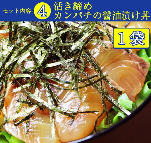 土佐の海鮮丼5種セット(うるめいわし漬け丼2袋、さば・タイ・カンパチ・ブリ各1袋)【ぶっかけ漬け丼】【着色料・保存料無添加】