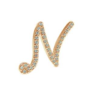 K18PGピンクゴールド ラペルピン ダイヤ イニシャル N ピンブローチ