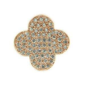 K18PGピンクゴールド ダイヤ ラペルピン ピンバッジ ピンブローチ 四葉 クローバー モチーフ 4月誕生石