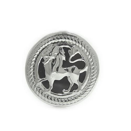 K18 オニキス ラペルピン ピンバッジ ライオン 獅子 ピンブローチ ブローチ ホワイト/ピンク/イエローゴールド ユニセックスデザイン