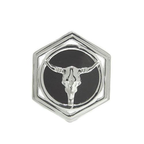 K18 オニキス ラペルピン ピンバッジ バッファロー ピンブローチ ブローチ ホワイト/ピンク/イエローゴールド 誕生石 ユニセックスデザイン