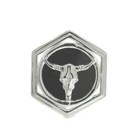 プラチナPT900 オニキス ラペルピン ピンバッジ バッファロー ピンブローチ ブローチ ユニセックスデザイン