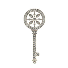 K18ホワイト/ピンク/イエローゴールド キュービックジルコニア ラペルピン ピンバッジ ピンブローチ 鍵 キー ブローチ