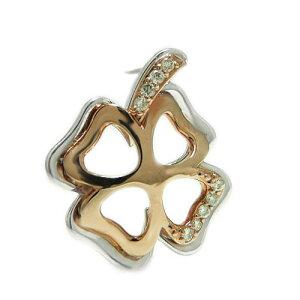 K18 ホワイト/ピンク/イエローゴールド コンビ ダイヤ ラペルピン ピンバッジ ピンブローチ 四葉 クローバー ブローチ 誕生石