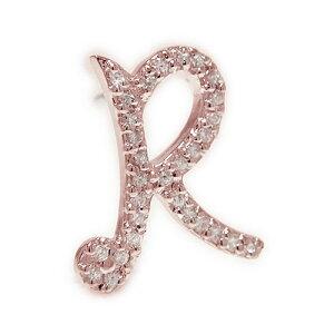 K18ピンクゴールド ダイヤ イニシャル R ラペルピン ピンブローチ