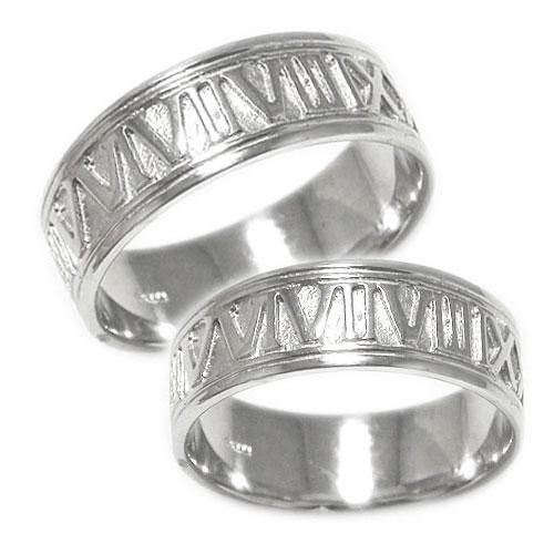 ペアリング 地金 PT900プラチナ ローマ数字 ナンバー 幅広 太め マリッジ 結婚指輪 指輪 記念日 2本セット 刻印無料