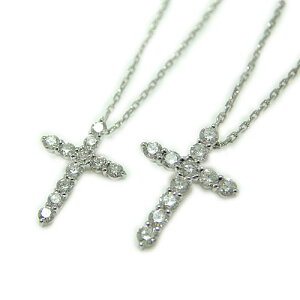 K10ホワイトゴールド/イエローゴールド/ピンクゴールド ペンダント ペアペンダント クロス 十字架 ダイヤモンド「定番モチーフ」二本セット ネックレス *選べるゴールドカラー