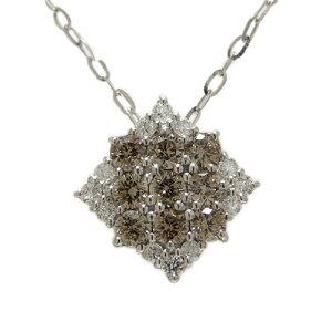 PT900プラチナ ブラウンダイヤ ダイヤ ダイヤモンド ペンダント ネックレス スクエア 天然石 誕生石